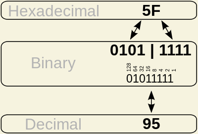 1110 in binary to hex